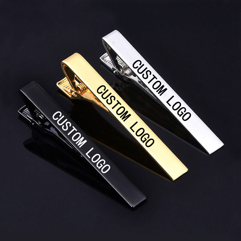 DIY Logo 5.8*0.6cm Tie Clip Laser Engraving Sport LOGO For Men Titanium Steel Silver Gold  Business Tie Pin Clasp Necktie(China)