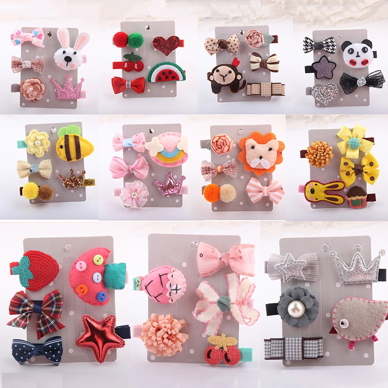 Girls Headwear 5PCS Children Head Make Up Girl Baby Bow Knot Baby Hair Children's Hair Accessories Cartoon Animals Hair Clips new high quality baby hair accessories children s cute lace bowknot hair clips baby girl hairpin child hair bow ribbon headdress