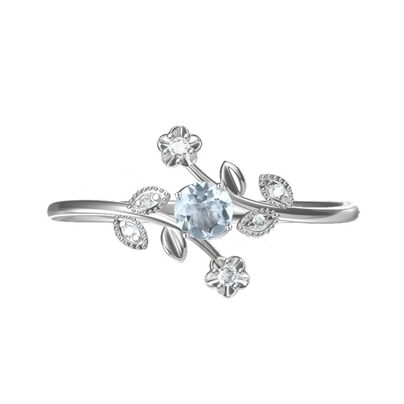 Solid 10k White Gold Natural Diamonds Engagement Wedding Ring Flower Leaf Women Ring Fine Jewelry Trendy rhinestoned flower leaf finger ring