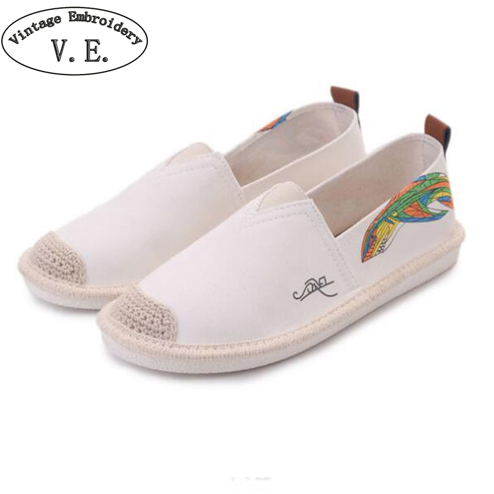 Vintage Women Linen Shoes Fashion Floral Print Canvas Flats Ladies Ballet Flat Casual Breathable Slip On Shoes Zapatos Mujer 2018 women summer slip on breathable flat shoes leisure female footwear fashion ladies canvas shoes women casual shoes hld919