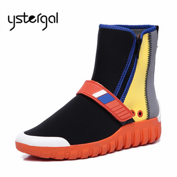 Ystergal Mixed Color Women Sock Boots Fashion Stretch Fabric Casual Flat Shoes Woman Ankle Boots High Tops Platform Botas Mujer