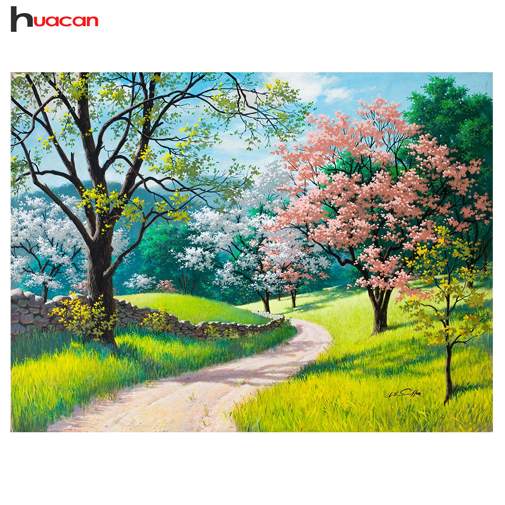 HUACAN DIY 5D Diamond Painting Landscape Afbeelding van Rhinestones Handmade Full Diamond Embroidery Cross Stitch 4 Seasons Scenery