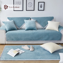 Liv-Esthete Luxury Velvet Blue Sofa Cover Euro Nordic Living Room Corner Single Double Sizes Combination Slipcovers