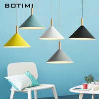 BOTIMI luces colgantes LED brillantes para mesa de comedor lámpara colgante de Metal nórdico restaurante Luminaria lámpara de madera
