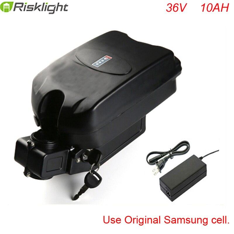 Offre spéciale lithium ion grenouille type batterie de vélo électrique 36v 10ah li ion 18650 batterie avec chargeur et bms ajustement 36v bafang moteur