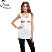 Jessie Vinson Mode Creux Out Front Zipper Sexy Bandage Débardeur Dos Nu Cut Out Bandeau Gilet Soleil-top Femmes Tops