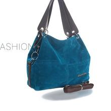 Kisstyle Women Hobos Handbag Suede Leather Shoulder Bag Vintage Female Casual Tote Handbags Soft Leather Retro Motorcycle Bags