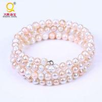 Fashion elegant freshwater pearl  bracelet multi layer adjustable bangles wedding&party jewelry  best gift for women