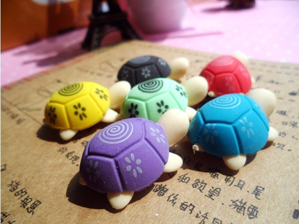 60pcs/lot Cute Turtle Shaped Eraser For Kids Students Rubber Erasers  Stationery Product Children Office School Supplies