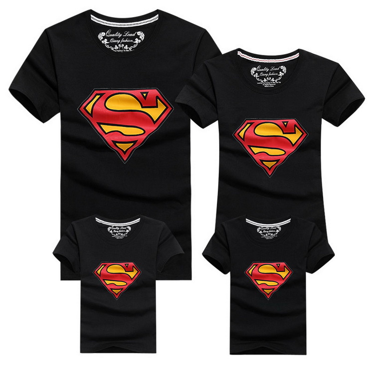 mom dad son and daughter drawing - 2019 New Family Look Superman T Shirts 9 Colors Summer Family Matching Clothes Mom & Dad & Son & Daughter Cartoon Outfits, HC315