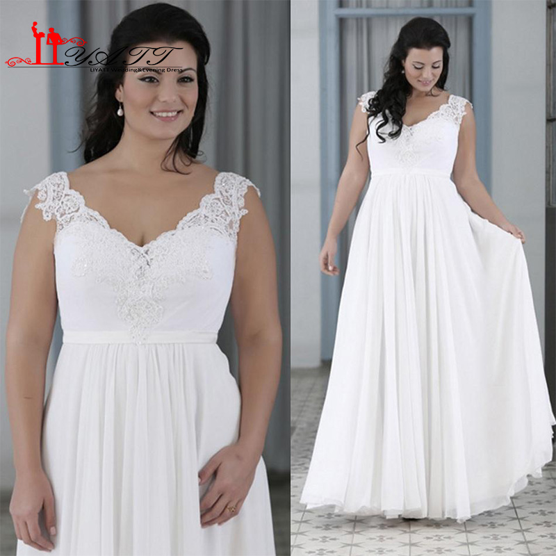 2016 Modest Plus Size Summer Beach Wedding Dresses A Line V Neck