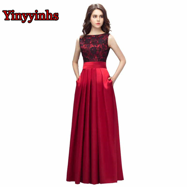 ad92731d2f Yinyyinhs Vestido De Formatura Evening Dresses A Line With Pockets Lace  Satin Long Prom Dress Plus Size Formal Party Gown CG002
