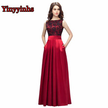 Yinyyinhs Vestido De Formatura Evening Dresses A Line With Pockets Lace Satin Long Prom Dress Plus Size Formal Party Gown CG002