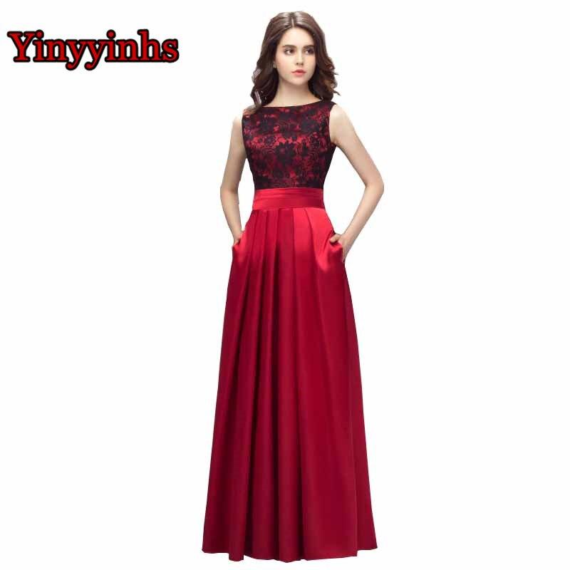 f271605764 Yinyyinhs Vestido De Formatura vestidos De noche una línea con bolsillos  encaje satinado Vestido largo más tamaño Formal Vestido De fiesta CG002 en  Vestidos ...