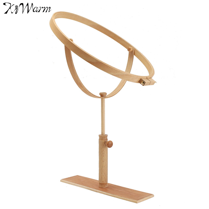 beech wood rotatable embroidery hoop cross stitch rack adjustable desktop frames cross stitch embroidery tools ornaments dia42cm