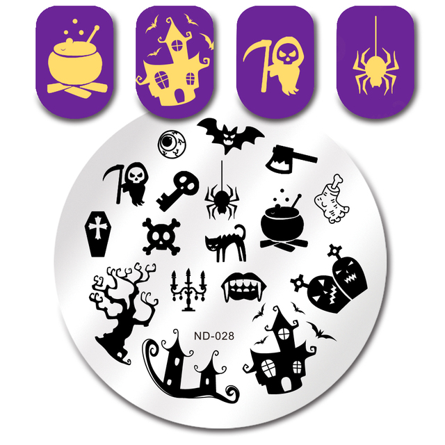nicole diarty halloween spider ghost stamp template round manicure