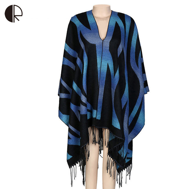 Winter Striped Cashmere Blanket Scarf Pashmina Cape Womens Capes and Ponchoes AM277