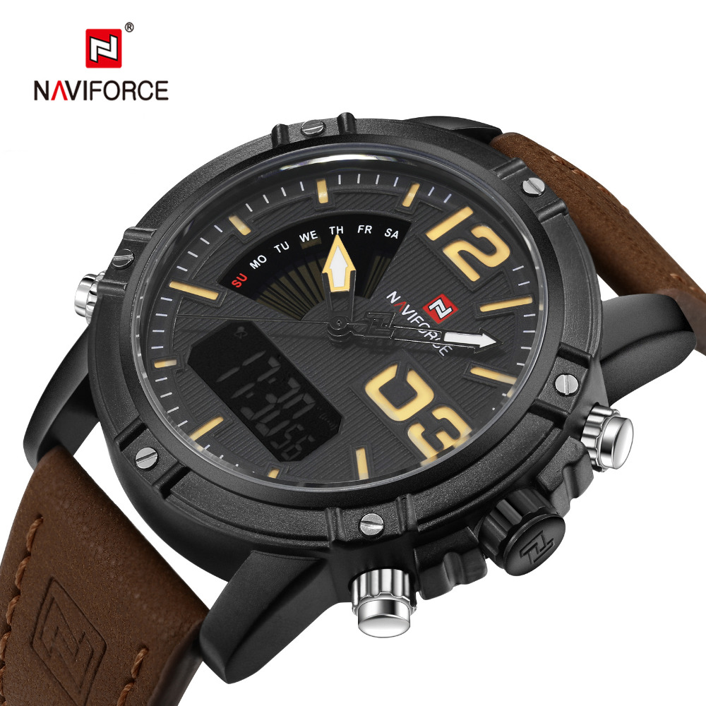 NAVIFORCE Men's Fashion Sport Watches Men Quartz Digital LED Clock Man Leather Military Waterproof Watch Relogio Masculino 2017 new top fashion time limited relogio masculino mans watches sale sport watch blacl waterproof case quartz man wristwatches