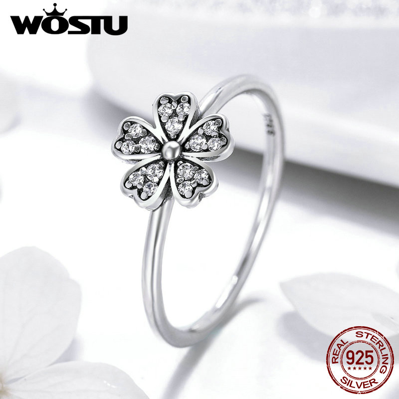 100% 925 Sterling Silver Dazzling Daisy Meadow Stackable Ring AAA Clear CZ For Women For Women Original Pan Jewelry FIR398