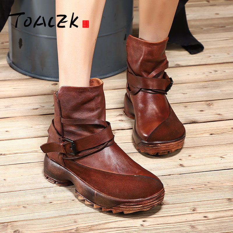 Autumn winter new genuine leather leisure sport thick bottom short boots female belt buckle individual character single bootsAutumn winter new genuine leather leisure sport thick bottom short boots female belt buckle individual character single boots
