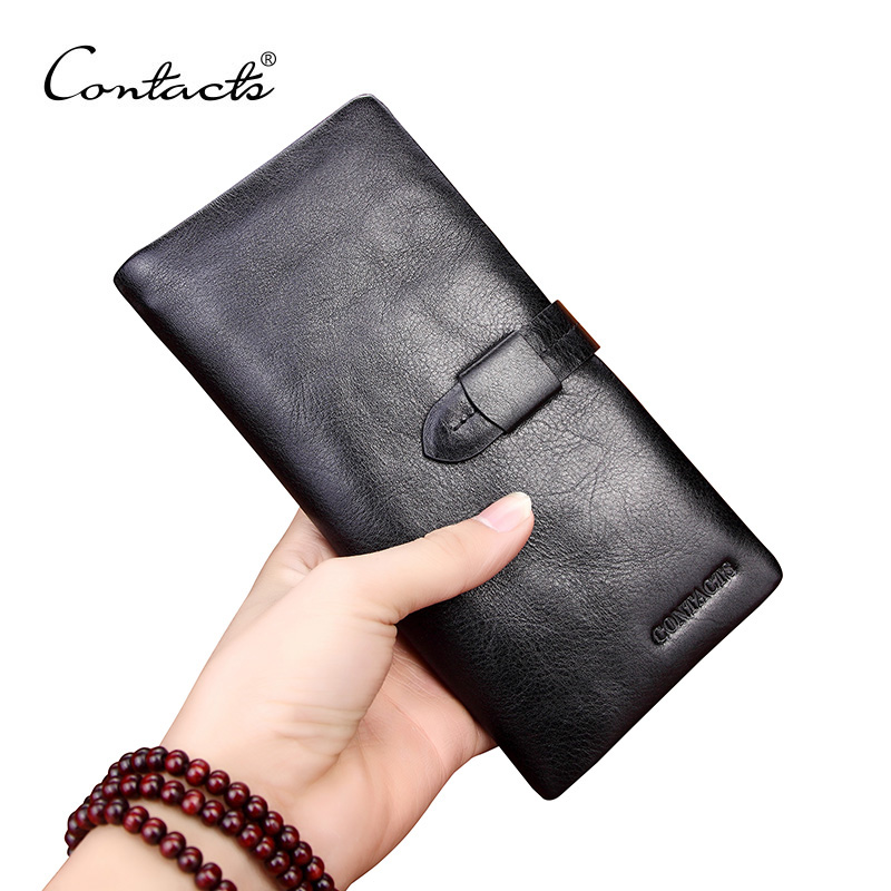 CONTACT'S Brand Solid Men Wallets Fashion Male Clutch Wallet Genuine Leather Men Long Purses Card Holder Purses Men Coin Purse