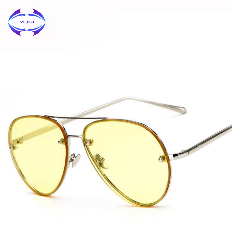 VCKA 2017 Solglasögon kvinnor Brand Design pilot solglasögon Klar lins Kvinnlig mode ovala solglasögon genomskinlig UV400