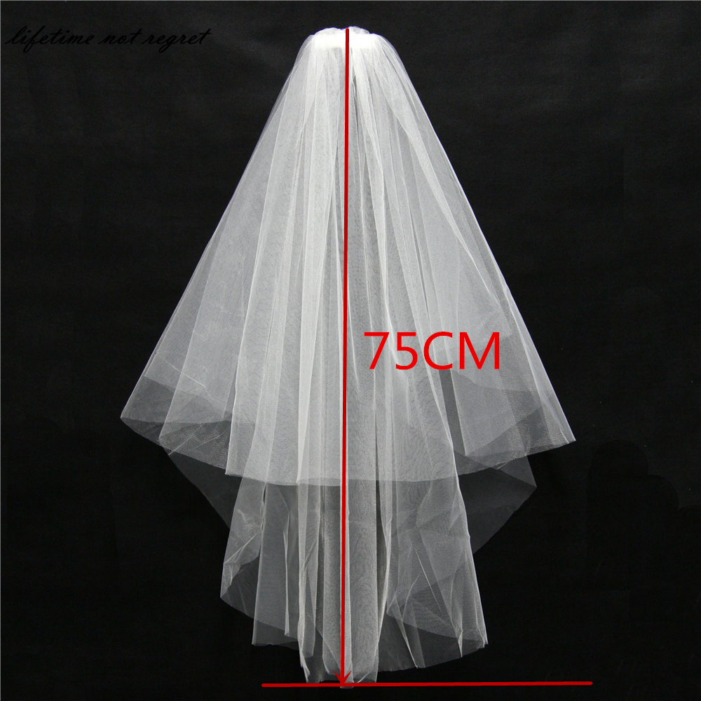 Free Shipping voile mariage wedding veil Two-Layer Tulle Bridal Veil Wedding Accessories velos de novia With comb