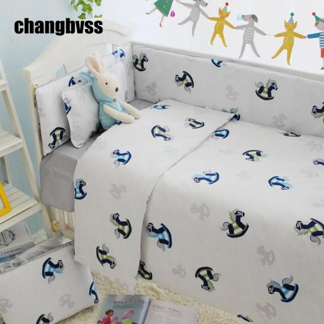 New Arrival Cartoon Horse Print Baby Crib Bedding Set,Baby Quilt Cot Bumper  Comforter,