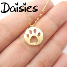 Daisies 1pc Dog Paw Necklace Print Dye Cut Coin Shaped Animal Charm Pendant in Gold Long