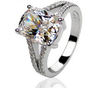 Luxury Wedding Ring 3 85 Carat Cushion Cut Sona Synthetic Diamond Engagement Rings For Women 925