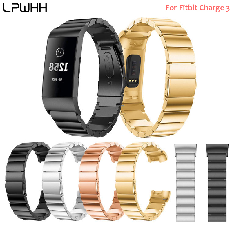 LPWHH Stainless Steel Watchband For Fitbit Charge 3 Strap Smart Bracelet Gold Rose Black Silver Install Watch Accessories Band in Watchbands from Watches