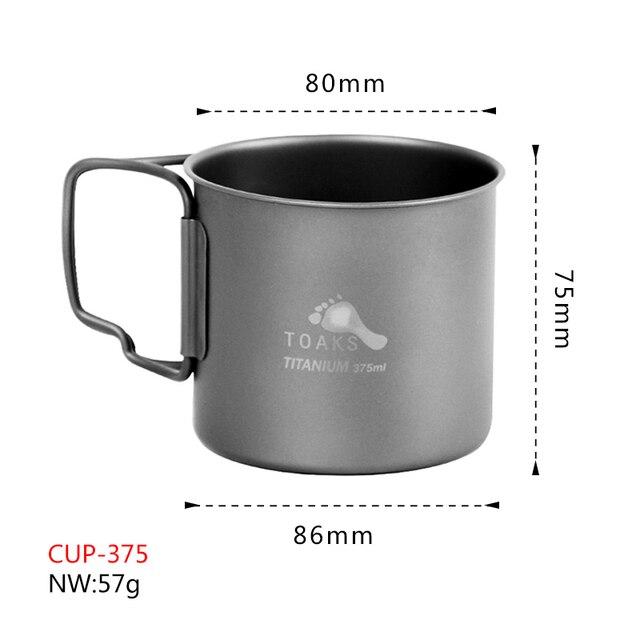 Toaks Titanium 375ml CUP  Mug Handle Cup-375 3