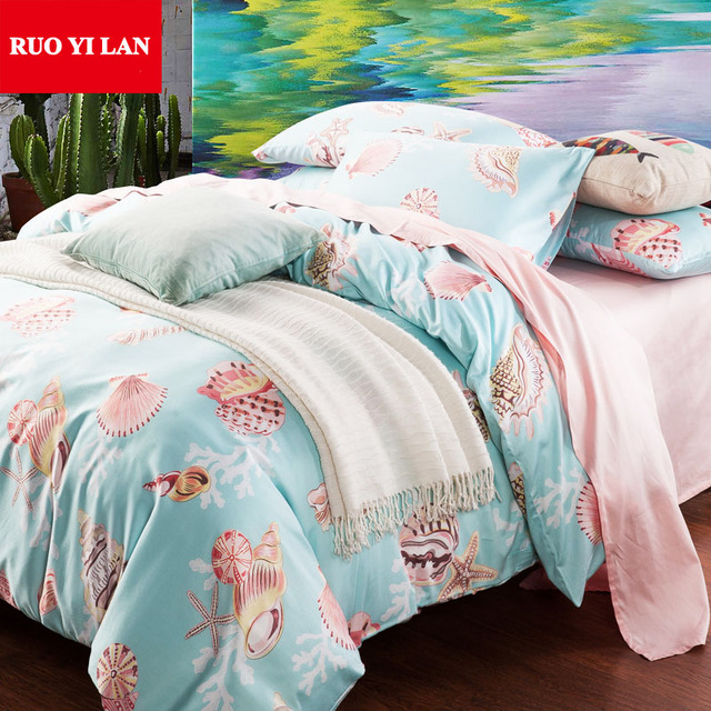 Ruoyilan 100 Cotton 4pcs Bedding Set Starfish Seass Sets Queen King Duvet Cover