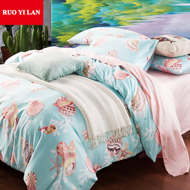 starfish seashells bedding set 4pcs queen king 100cotton satin duvet cover set bedclothes bed