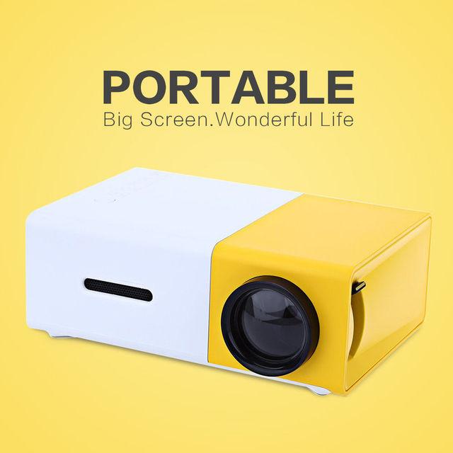 El envío gratuito! 400-600LM YG300 LED Proyector portátil 320x240 P HDMI USB Home Media Player NEGRO