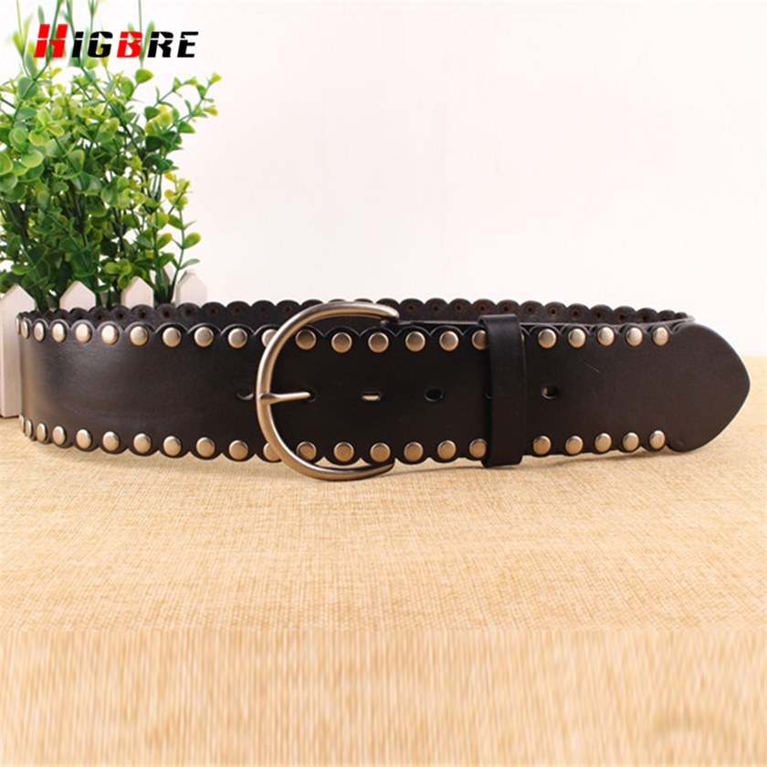 HIGBRE 2019 Fashion Ladies Wide Belts Elastic Metal Buckle Belt Women Genuine Leather Waistband Casual Cinturon Mujer Metal