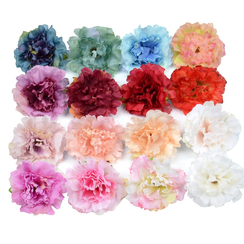 10pcs 5cm Carnation Artificial Silk Flower Head For Wedding Home Party Decoration Scrapbooking Chrismas Cheap Fake flowers