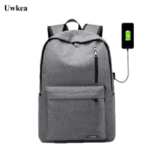 Uwkea Boys/Girls Business Backpack Men Canvas Waterproof USB Charge Large Capacity Laptop Mochila