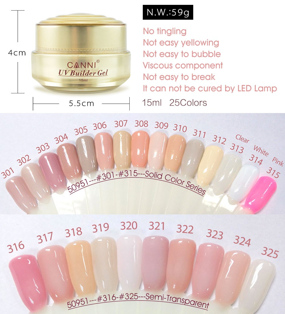 50951w Canni Thick Builder Gel 15ml Nail Extension Cover Pink Camouflage Soak Off Uv