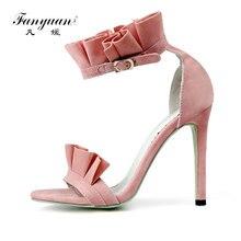Купить с кэшбэком Fanyuan Summer Shoes Women Sandals Elegant Ruffles Ultra High Heels Sandals Thin Heel Party Wedding Shoes Stiletto Open Toe