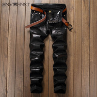 2017 European Street Style Fashion Casual Letter Printed Black Jeans Straight Slim Quality PU Leather Men