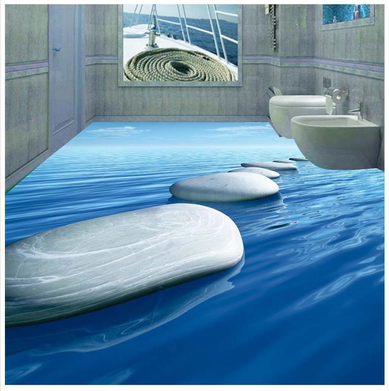 3d pebbles bathroom 3d floor murals waterproof floor mural - Waterproof floor paint for bathrooms ...