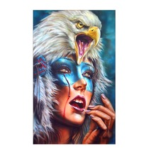 Full Round Diamond 5D DIY Beauty & Eagle Embroidered Cross Stitch Mosaic Decorative Painting Gift