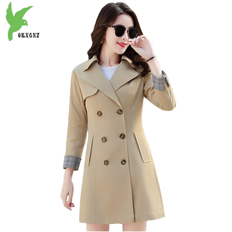 Quality   trench   coat Women 2018 spring Fashion Slim Windbreaker Plus size   trench   women coat autumn   Trenches   female OKXGNZ 1729