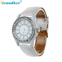 Relogio 2017 Ladies watches Leather-based Crystal Dial Woman Wrist Watch Bracelet Quartz Watch relogio feminino hour Cloc 17apr17