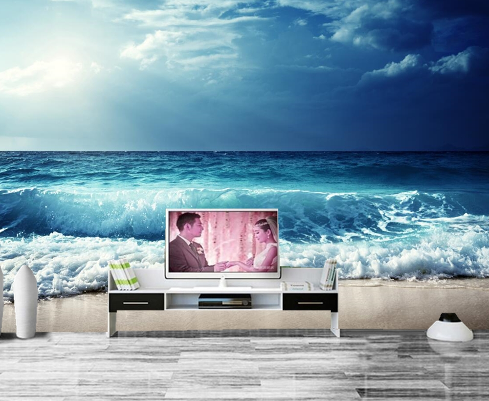Papel de parede Sky Sea Waves Horizon Nature photo wallpaper ,living room tv wall sofa wall bedroom restaurant bar 3d mural 3d mural papel de parede purple romantic flower mural restaurant living room study sofa tv wall bedroom 3d purple wallpaper