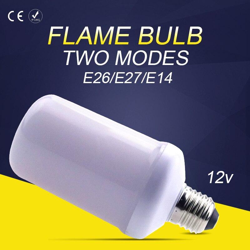 Creative LED Flame Effect Fire Light Bulbs E27 led 12V E14 LED Flame lamp Corn 2835SMD E26 Two Modes 99leds Decorative lights