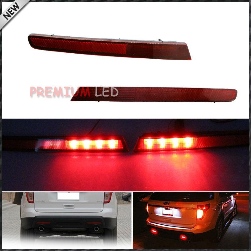 2 Euro Style Driver Passenger Sides LED Bumper Reflectors Rear Fog Lights For 2011 2015
