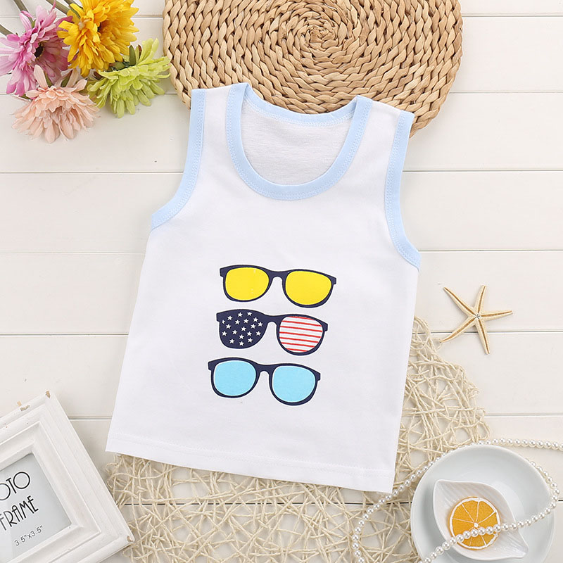 Child's Summer Cotton Vest Fashion Character Tank O-neck Tops Blouse Sleeveless T-shirt for Boy/Girls' 1-6 Years Toddler kids