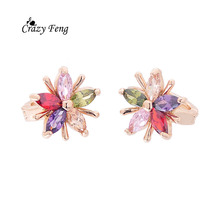 Luxury Fashion Gold-Color Flower Hoop Earrings with Cubic Zirconia Stone Women Party Wedding Exquisite Earing Brinco Jewelry